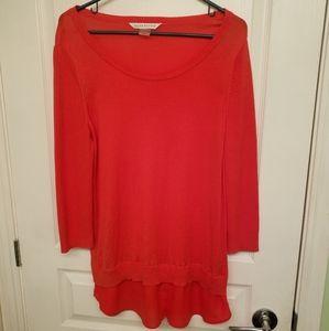 Peter Nygard Orangey Red Ladies Top Size L